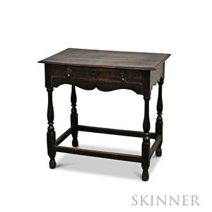 William & Mary Oak One-drawer Tavern Table