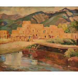 Karl Albert Buehr (American, 1866-1952)      Landscape with Adobe