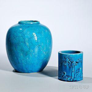 Two Turquoise Blue-glazed Ceramic Items