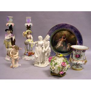 Seven Continental Decorated Porcelain Items