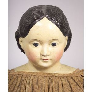 Very Large Papier-mache Greiner Doll with 1858 Label