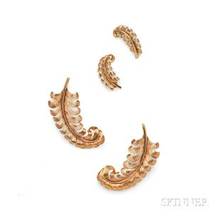 Retro 14kt Gold Feather Suite, Tiffany & Co.