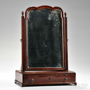 Mahogany Veneer Dressing Mirror and a William and Mary Black-painted Caned Side Chair