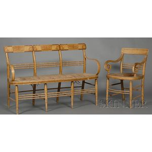 Classical Fancy Gilt and Paint-decorated Settee and Similar Armchair