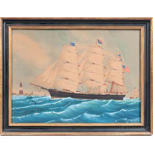 American School, Late 19th Century, Portrait of the Three-masted Vessel Martha Bowker of Brunswick, Maine, Entering the Scheld River Bo