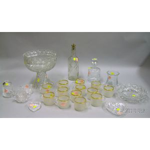Twenty-three Pieces of Colorless Cut, Molded, and Art Glass Tableware