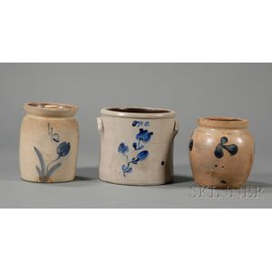 Three Small Cobalt Floral-decorated Stoneware Items