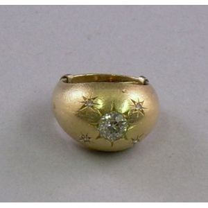 14kt Brushed Gold and Diamond Dome Ring