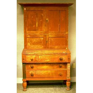 Country Empire Red-painted Wooden Two-part Writing Desk/Bookcase.