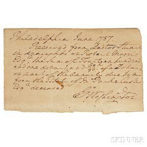 Washington, George (1732-1799) Autograph Receipt Signed, Philadelphia, June 1787.
