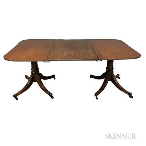 Federal-style Mahogany Double-pedestal Dining Table