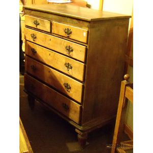 Chippendale Maple and Tiger Maple Chest of Six Drawers