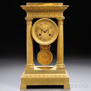 Gilt-brass Portico Mantel Clock