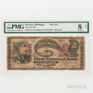 """1865 Original First National Bank of Owosso, Michigan $2 """"Lazy Deuce,"""" Ch. 1573, PMG Very Good 8 NET"""