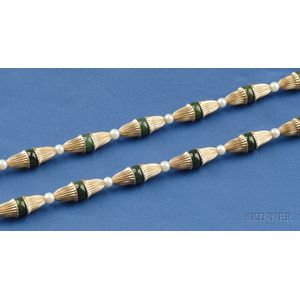 14kt Gold, Nephrite Bead, and Cultured Pearl Necklace