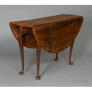 Queen Anne Circular Walnut Drop-leaf Dining Table