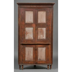 Federal Carved and Painted Corner Cupboard