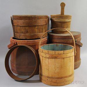 Six Wooden Domestic Items