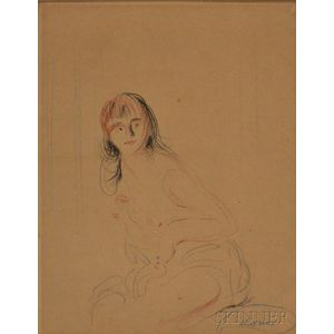 French School, 19th Century      Sketch of a Seated Nude