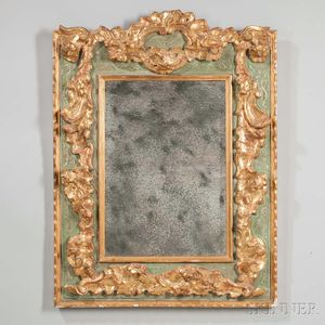 Louis XV-style Painted and Parcel-giltwood Mirror