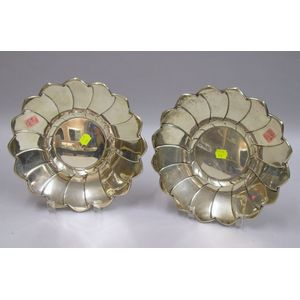 Pair of Reed & Barton Sterling Silver Floral-form Trays.