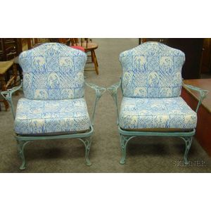 Pair of Painted Wrought Iron Patio Armchairs with Cushions.
