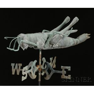 Molded Copper Grasshopper Weather Vane