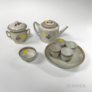 Twenty-six Pieces of Floral-decorated Lowestoft Porcelain Teaware