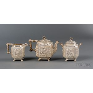 Three Piece Sterling Repousse Batopilas Presentation Tea Set