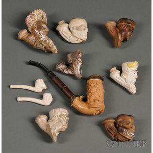 Nine Carved Ceramic Pipes