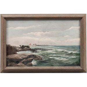 American School, Early 20th Century      Seascape, Cape Elizabeth, Maine