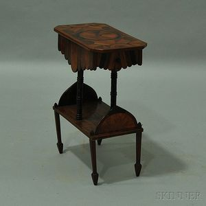 Tramp Art Parquetry Two-drawer End Table