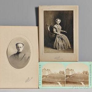 Two Photographs of Shaker Sisters and a Stereocard of a Shaker Village