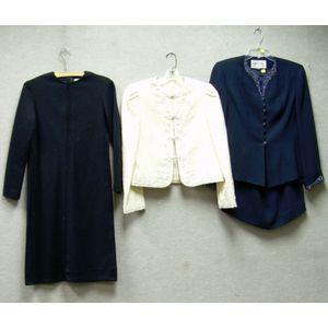 Navy Blue Albert Nippon Evening Ensemble, a Cream Wool Oscar de la Renta Coat, and a Black Wool Oscar de la Ren...