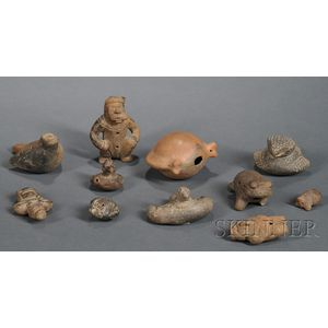 Ten Pre-Columbian Pottery Wind Instruments