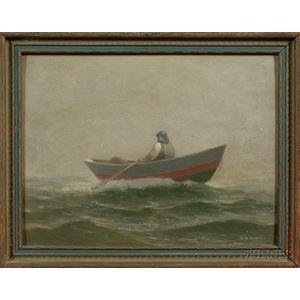 Charles Drew Cahoon (Massachusetts, 1861-1951)      Foggy Day with Fisherman Rowing Out to Sea.