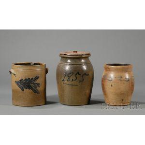 Three Cobalt-decorated Stoneware Jars