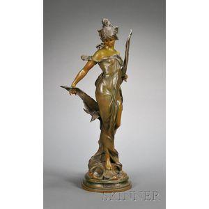 "Art Nouveau Patinated Metal Figure of a Nymph, ""Galatea,"""