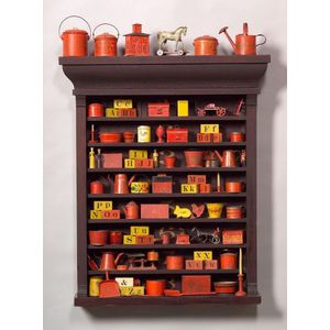 Mahogany Shelf with Painted Tin, Cast Iron, and Wooden Childrens Items