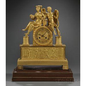 French Empire Figural Ormolu Mantel Clock