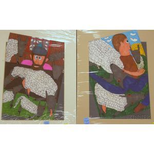 Two Unframed Matted Mixed Media on Paper Drawings by Stuart Williams   Figures with Sheep