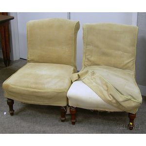 Pair of Victorian Upholstered Walnut Parlor Chairs.