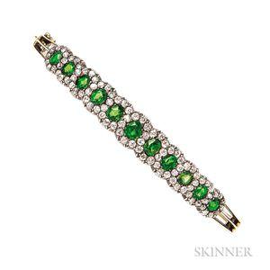 Demantoid Garnet and Diamond Bracelet