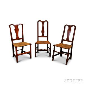 Three Queen Anne Maple Side Chairs