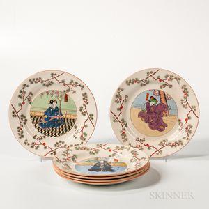"Six Wedgwood ""Japanese"" Series Plates"