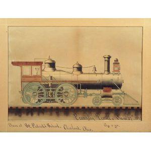 American School, 19th Century  School Boy Watercolor Portrait of a Locomotive.