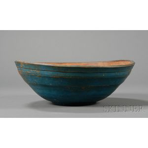 Blue-painted Turned Treen Bowl