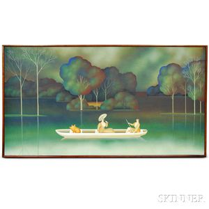 Igor Galanin (Russian/American, b. 1937)    Two Women and a Pig out for a Boat Ride