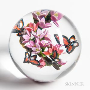 Colin Richardson Butterflies and Flowering Branch Paperweight