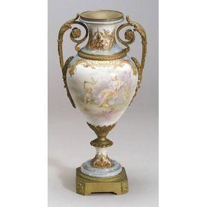 Sevres-style Ormolu Mounted Porcelain Urn